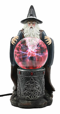 Wizard With Electric Plasma Ball 11.5 Inch Functional Figurine