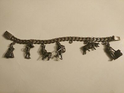 Vintage Sterling Silver Charm Bracelet Mexico Signed Heavy Nice!!