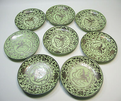 Set of Eight Antique Chinese Plates with Silver Overlay Phoenix