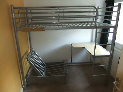 Children S Metal Framed High Sleeper With Desk Futon To Fit 3 X6