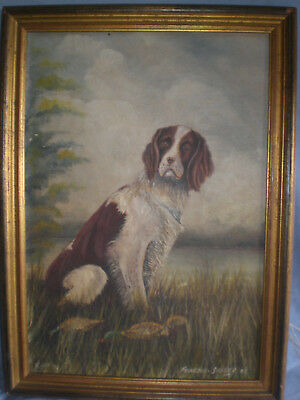 Antique Oil On Board Painting Of English Red Springer With Ducks And Signed