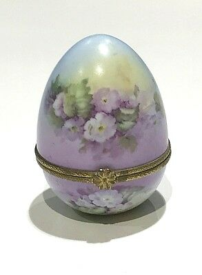 Vintage Royal Vienna Hand Painted Pastel Flowers on Egg Shape Hinged Trinket Box