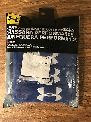 "New Unisex Under Armour UA Performance Wristbands 1"" Blue/White 4pk Sweatbands"
