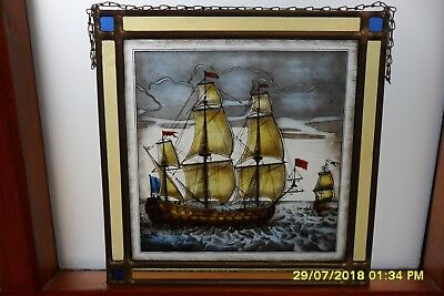 Painted Glass / Stain Glass Panel of Galleon in Lead framing