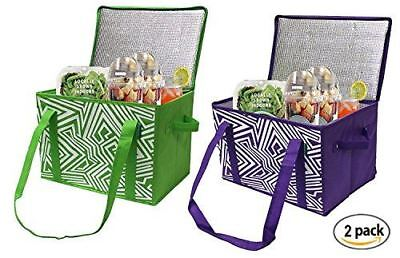 Insulated Reusable Grocery Bag Shopping Box with REINFORCED BOTTOM (2 pack)