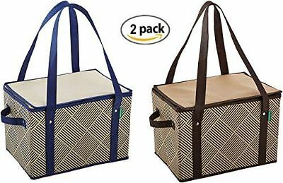 Insulated Lrg Collapsible Reusable Box Shopping Grocery Bag w/Zipper (2 Pack)