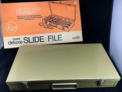 "LOGAN Metal Deluxe Slide File No. 110 w/ Box 2"" X 2"" Slides Holds 300 NEW Labels"