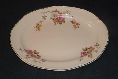 """E. KNOWLES China 13"""" Oval Platter Dish ~ MAYDAY White Pink Yellow Flower Leaf"""