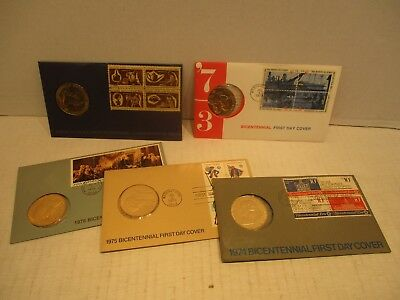 Set Of 5 Bicentennial 1776-1976 Commemorative Coin Medals In First Day Cover FDC
