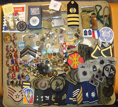 Huge Lot of Military Patches Pins Crests Brass Buttons Boards, etc