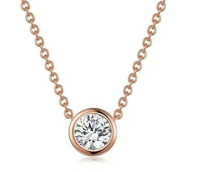 Women Pendants Necklaces Cubic Zirconia Rose Gold Chain Round Fashion Jewelry
