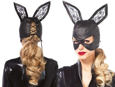 Faux Leather Bunny Mask W/Lace Ears & Lace Up Back, Bondage, Fetish, 50 Shades