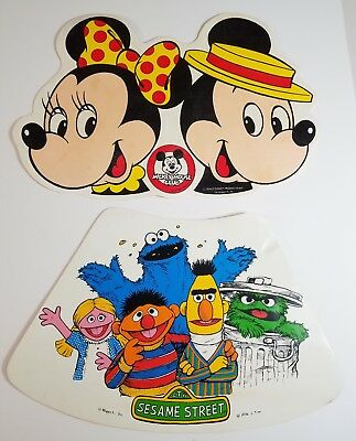 Vtg Foam Muppets Disney Placemats Sesame Street Character Mickey Minnie Set of 2