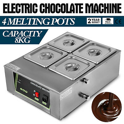 Electric Chocolate Tempering Machine Homemad Commercial Maker 4 Melting Pot 8KG