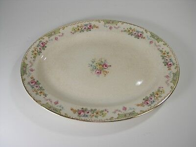 VTG Edwin M. Knowles china oval platter, gold edge, Semi Vitreous, made in USA