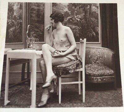 Early 1900's Stereoview Card Photo NUDE RISQUÉ FLAPPER LADY BARE  BREASTED