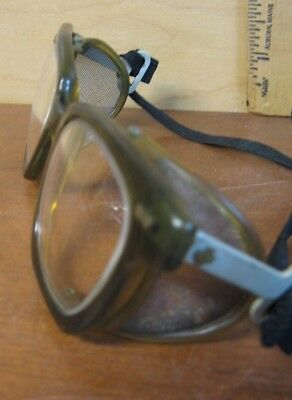 Vintage Safety Goggles Glasses With Side Mesh Railroad Motorcycle Steampunk