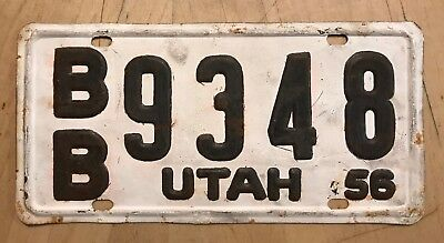 "1956 Utah Auto License Plate "" Bb 9348 "" Ut 56  Amateur Repaint"