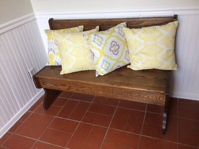 Solid Oak Antique Church Pew Benches with Storage (2 benches) BY AUG 11, SAT
