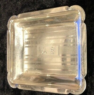 "Vintage Monogrammed .925 Sterling Silver Novelty Nut Tray 2 2/4"" x 2 1/2"""