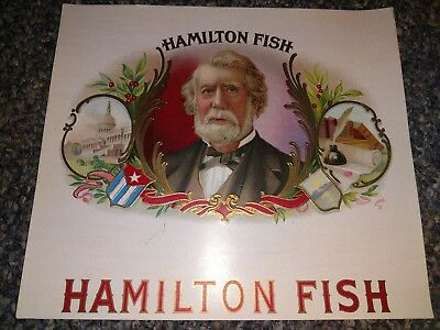 HAMILTON FISH inner CIGAR BOX LABEL Scarce 1920s ORIGINAL UNITED CIGAR MFG.