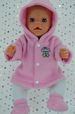 """Play n Wear Doll Clothes To Fit 17"""" Baby Born PINK JACKET~TIGHTS~BOOTIES"""