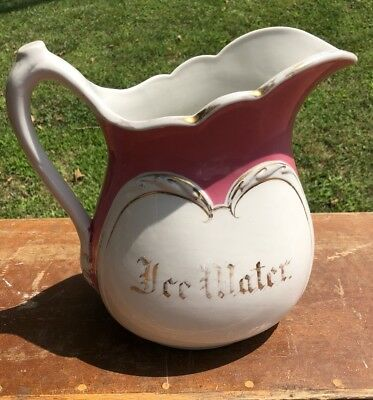 Antique Ice Water Ironstone Water Pitcher c. 1890's Ornate Beautiful Vintage