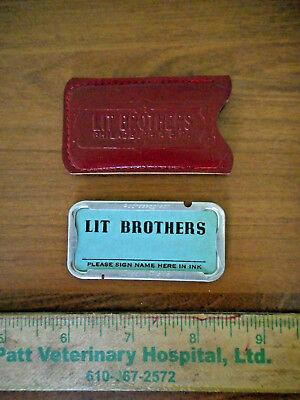 Vintage Lit Brothers Leather Card Case & Addressograph Credit Plate
