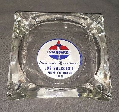Vtg Glass Ashtray AMERICAN STANDARD Oil Gas Amoco Seasons Greetings Christmas