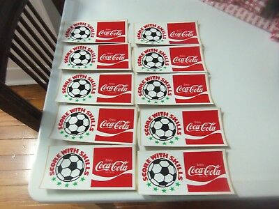 Lot of 10 Vintage Coca Cola Stickers Soccer Ball Score w/ Skills New / Old Stock