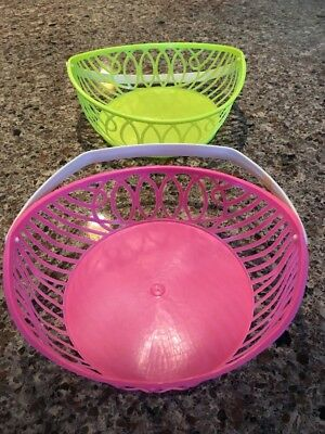 Vintage Plastic Easter Baskets Lot 2 Pink Yellow Dainty