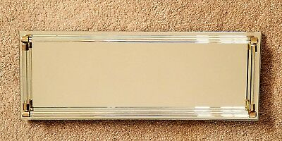 """Vintage Vanity Mirror Tray with Glass Rods rails and Brass Metal Caps 16""""L"""