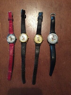 Lot of 4 Vintage Walt Disney Mickey Mouse & Minnie Watches-Bradley, Lorus
