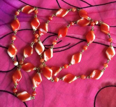 Vintage Antique Gold Red White Swirl Beaded Necklace Vtg Estate Find Retro Boho