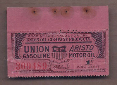 1920s-30s * Union Gasoline & Aristo Motor Oil * 1-cent Coupon
