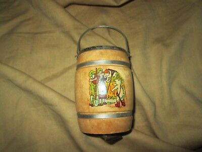 Vintage Round Wooden Barrel Bank, Puss in Boots