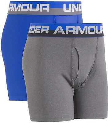 Under Armour Big Boys' 2 Pack Performance Boxer Briefs, Ultra Blue Grey, Youth