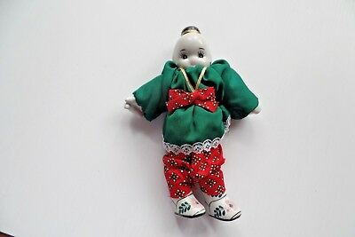 Doll Blue & White Porcelain  Asian / Chinese Doll traditional outfit