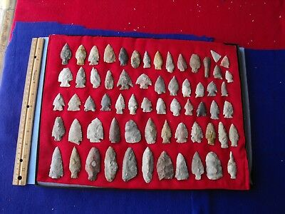 64 pc authentic Connecticut arrowhead, Indian artifact collection