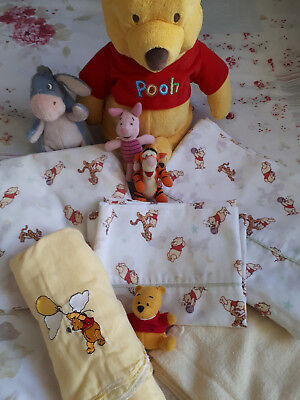 Winnie the Pooh themed baby gear: sheets, wraps and toys