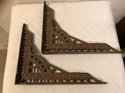 "Vintage Art Deco Cast Iron Metal Ornate Shelf Brackets 9"" x 7"""