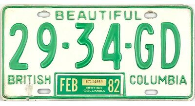 *99 CENT SALE*  1982 British Columbia License Plate #29-34-GD No Reserve