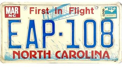*99 CENT SALE*  1985 North Carolina License Plate #EAP-108 First In Flight NR
