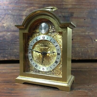 Vintage Swiss-Made Swiza 8-Day Carriage Brass Alarm Clock Tempus Fugit