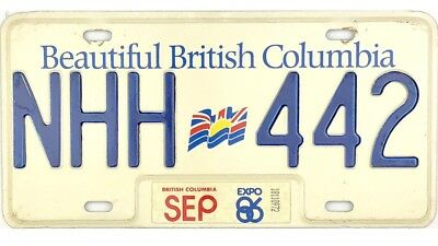 *99 CENT SALE*  1986 British Columbia License Plate #NHH-442 NICE No Reserve