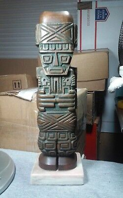Incredible mid century,carve wood,tiki on marble,sculpture,Oceanic,south pacific