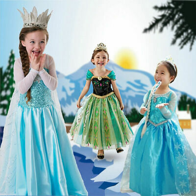 FROZEN BLUE ELSA Princess Costume Queen Cosplay Girls Fancy Train Dress Crown AA