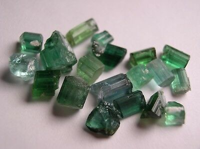 Tourmaline, Blue Green Transparent To Translucent Crystals, Pakistan