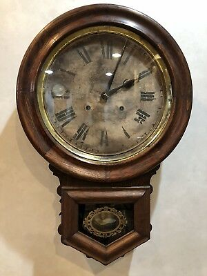 Ansonia Round Drop School House General Store Wall Clock