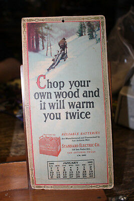"January 1926 Reliable Batteries Calendar Chop Your Own Wood 5"" x 10"" San Antonio"
